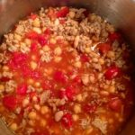 Overhead view Quick and Easy Sausage Soup in pot