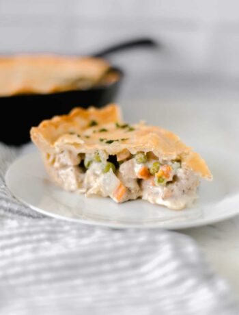 close up side view easy chicken pot pie on plate