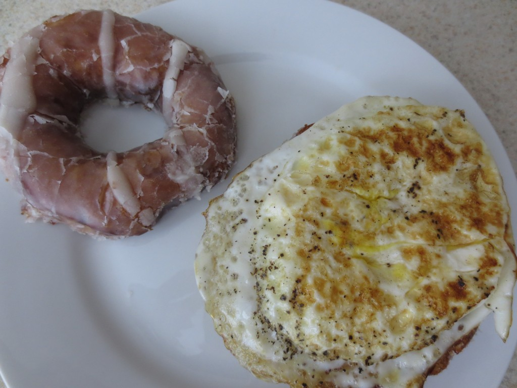 Homemade Glazed Donut Breakfast Sandwich with egg