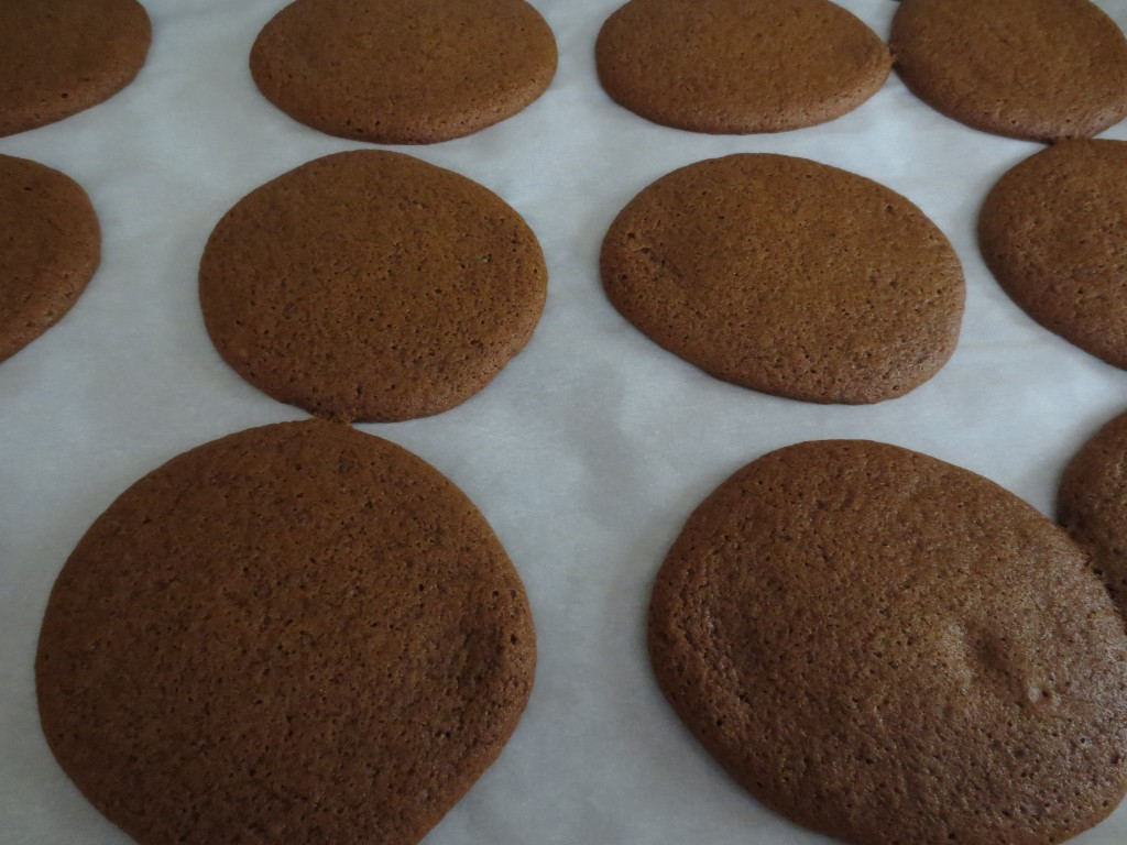 gingerbread whoopie pies after baking