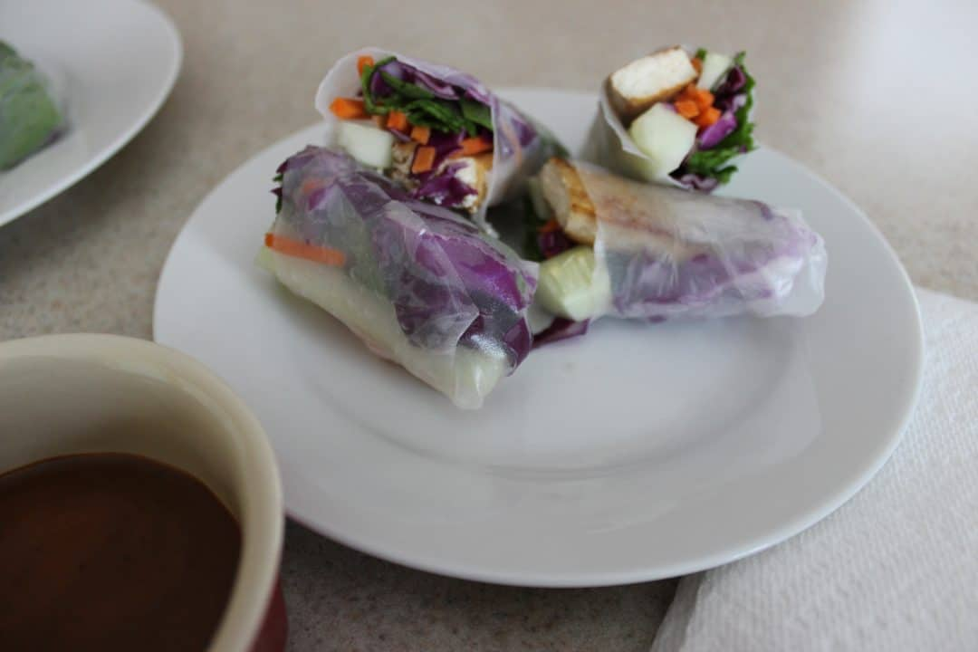 Fresh Vegan Spring Roll is a 30-minute recipe with crispy tofu, fresh vegetables, and a sweet and spicy dipping sauce. Delectable, crispy, and flavorful. simplylakita.com #vegan