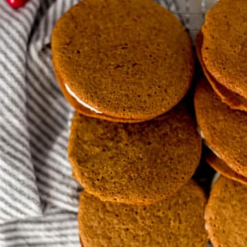 close up of gingerbread whoopie pies next to one another