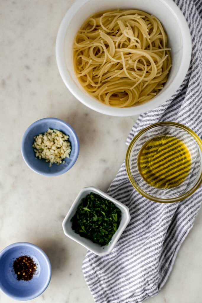 ingredients for the quick pasta toss in small bowls