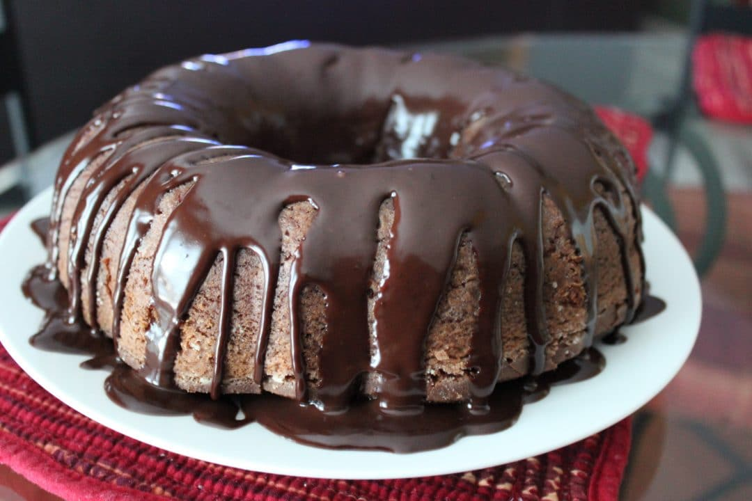 close up view of finished Chocolate Sour Cream Pound Cake