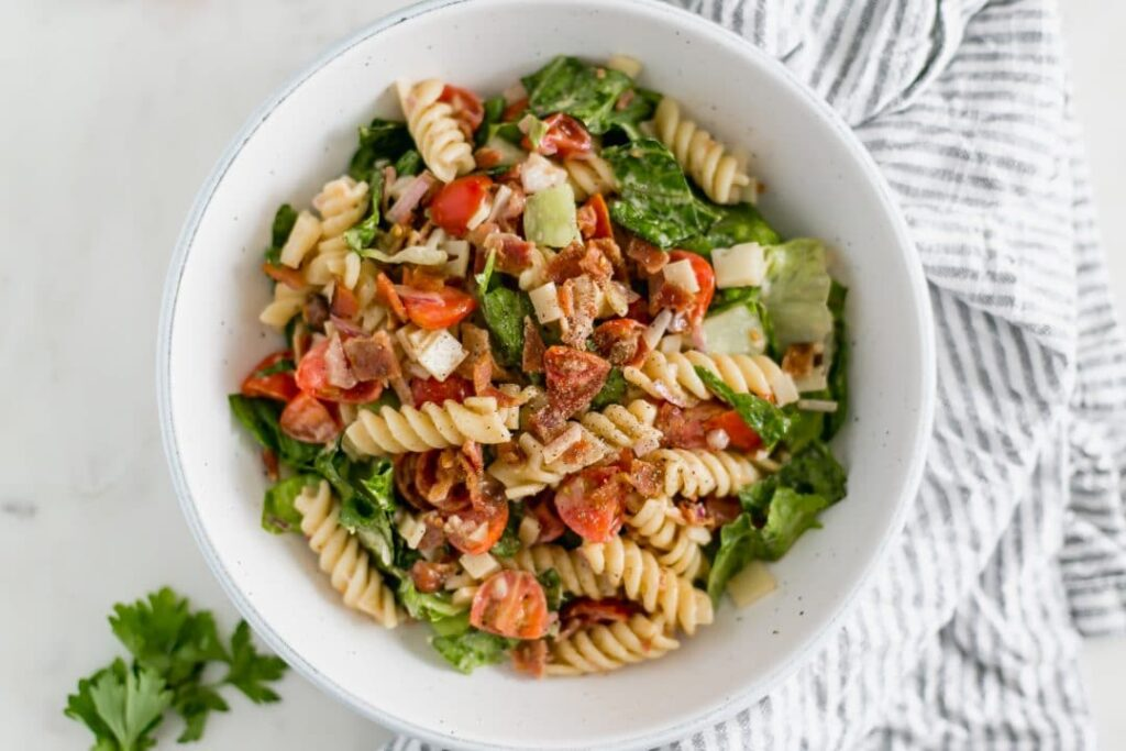 Ranch BLT Pasta Salad overhead shot in round bowl