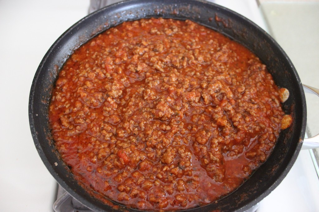 meat sauce in skillet on stovetop