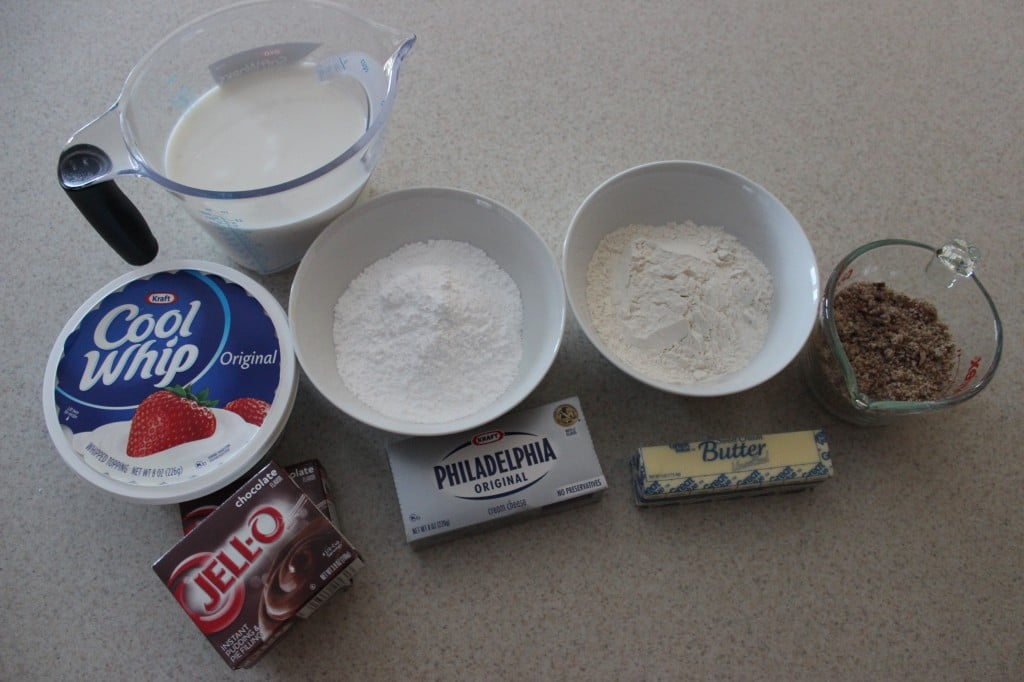 overhead view ingredients for chocolate delight