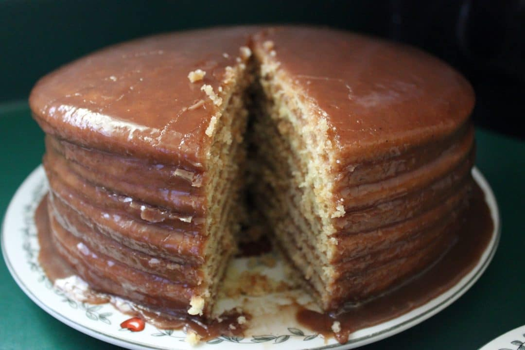 Frosted 9 Layer Chocolate Cake Sliced