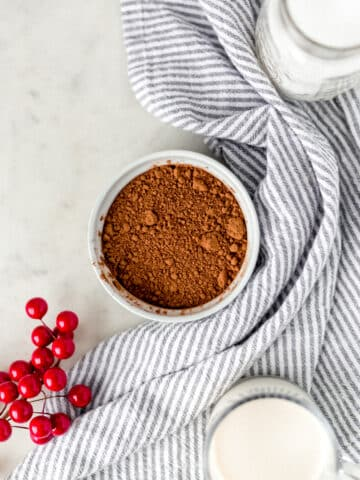 hot chocolate mix in a round white bowl with a napkin