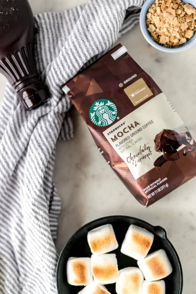 ingredients for toasted s'mores topped mocha drink