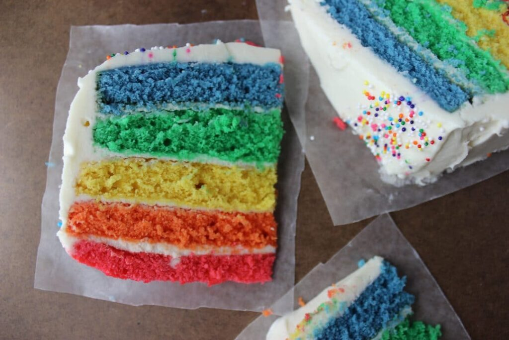Vanilla Buttermilk Rainbow Cake - Bright, colorful, and cheery cake that is sure to brighten the day of anyone. Perfect for those times when you need something special. simplylakita.com #cake #rainbow #layers