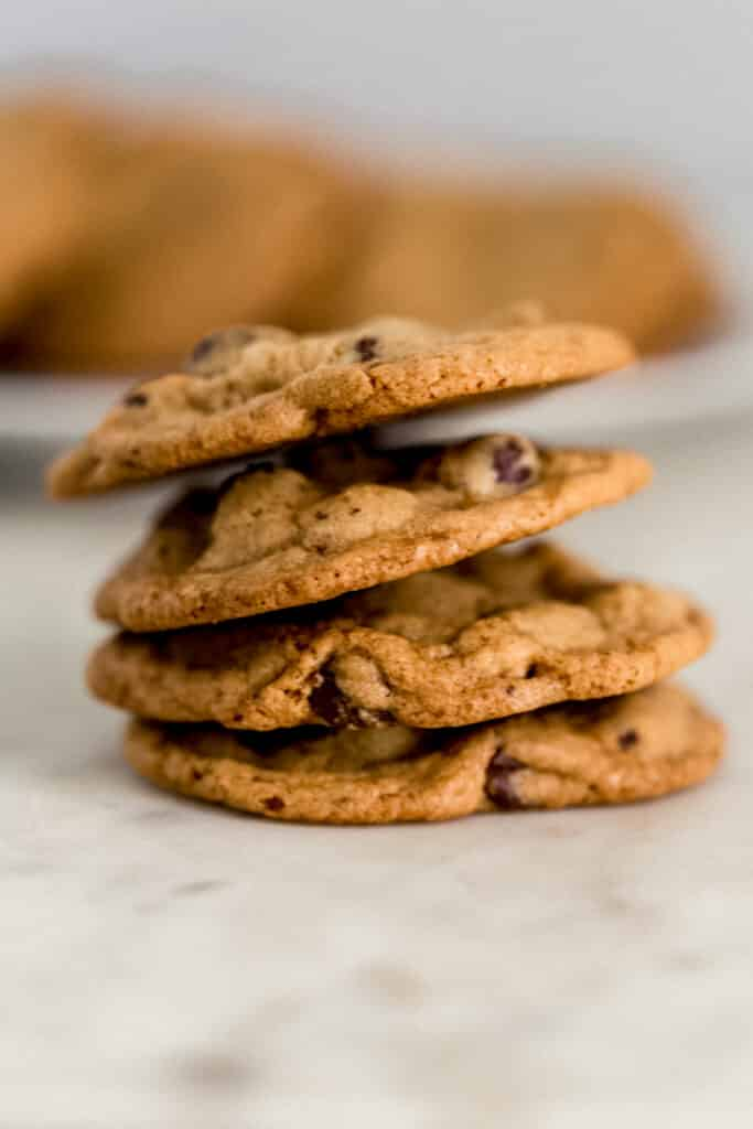 stack of baked chocolate chip cookies