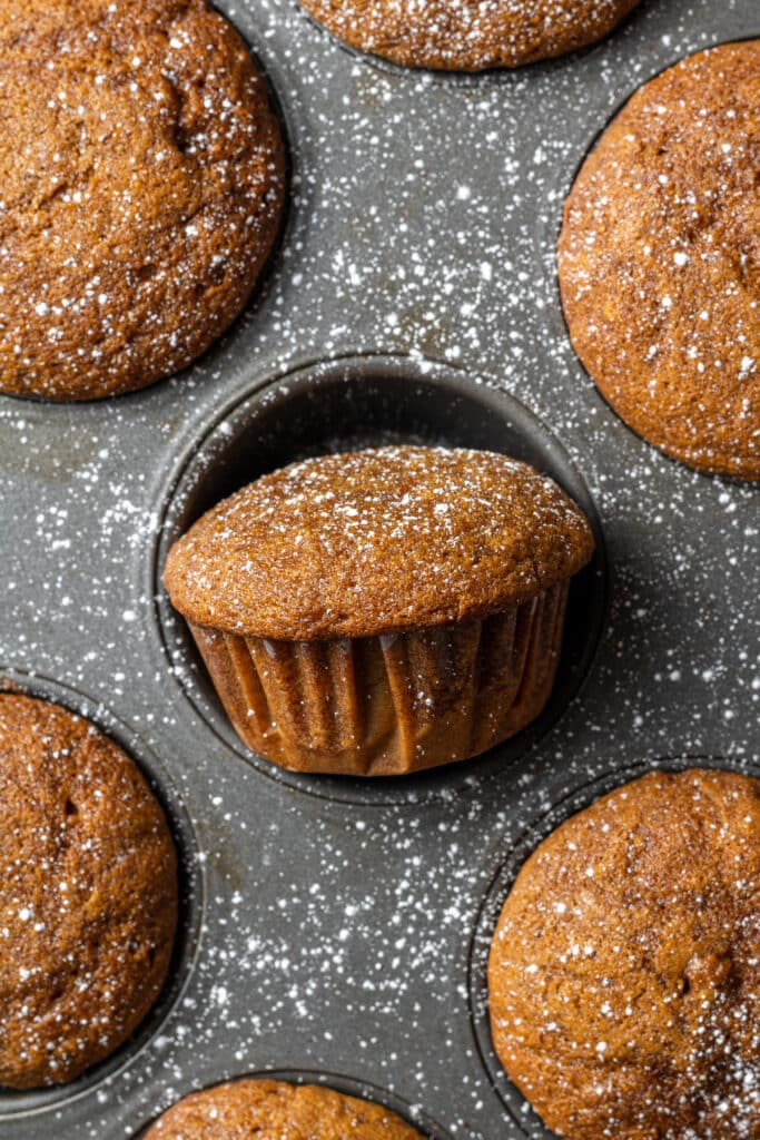baked gingerbread muffins in pan