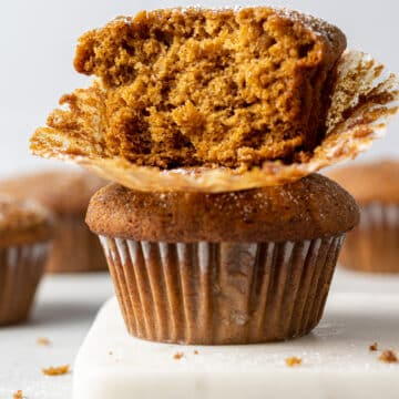 two muffins stacked on top of each other