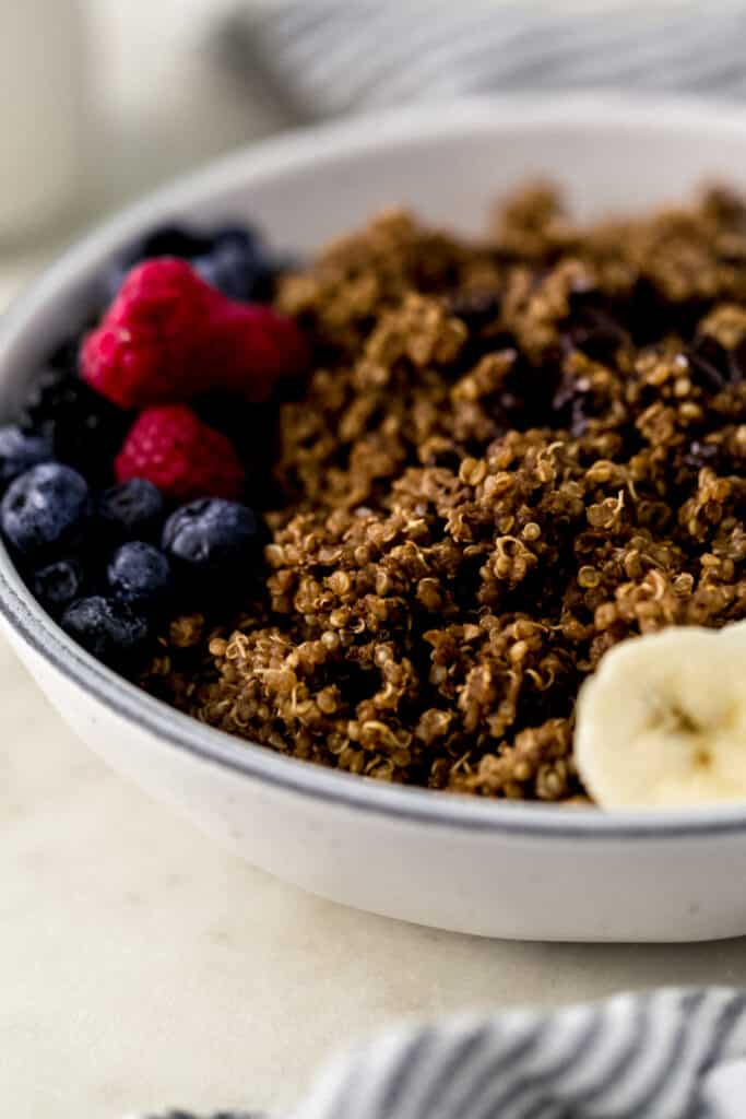close up side view chocolate quinoa in white bowl topped with fruit.