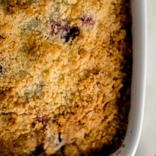 close up of blueberry coffee cake in white baking dish