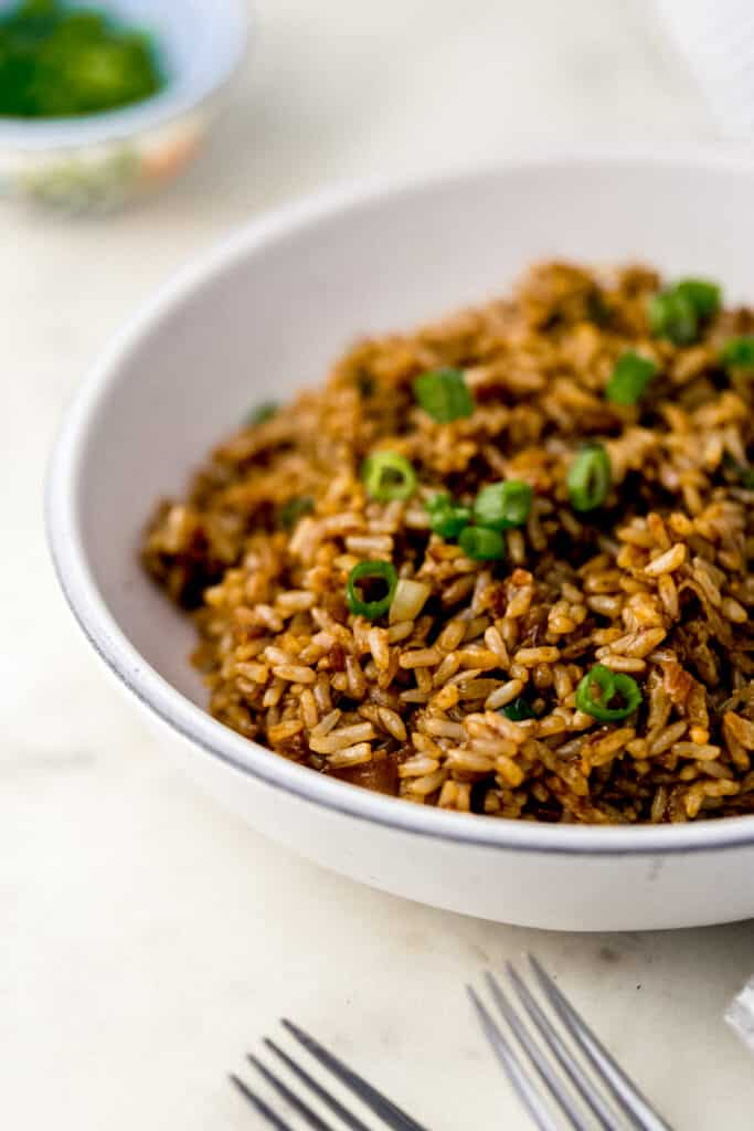 close up side view fried brown rice in white bowl beside a fork.