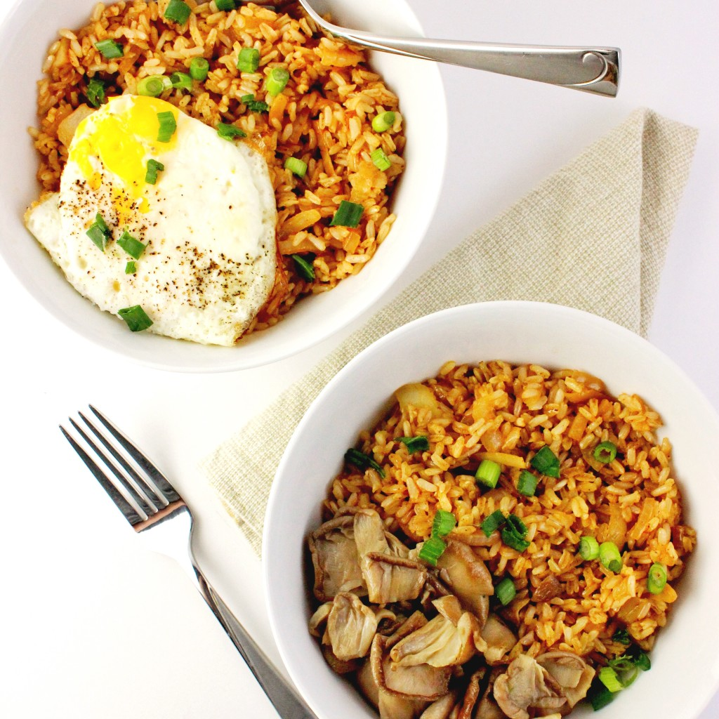 Fried Brown Rice with Vinaigrette is a quick and easy dinner option that can be topped with a fried egg or sauteed oyster mushrooms for a vegan option. simplylakita.com #rice #friedrice #dinner
