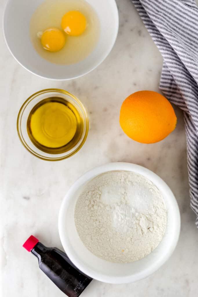 ingredients for orange olive oil cake recipe