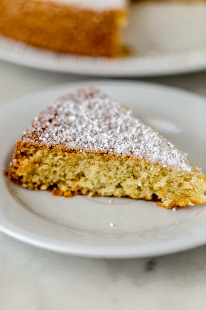 piece of olive oil cake on white plate