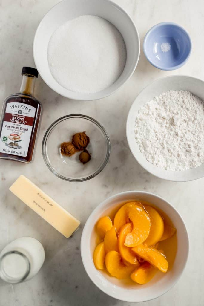 overhead view of peach cobbler recipe ingredients