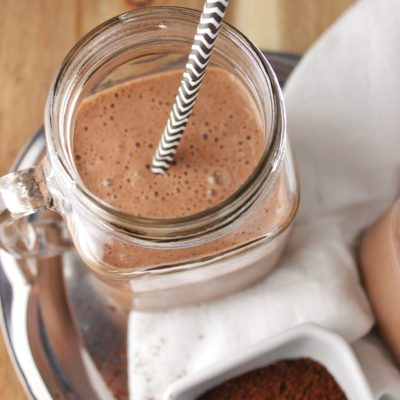 close up overhead view chocolate banana mocha smoothie