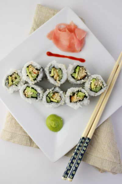 Vegan Sushi with Gardein Crabless Cakes