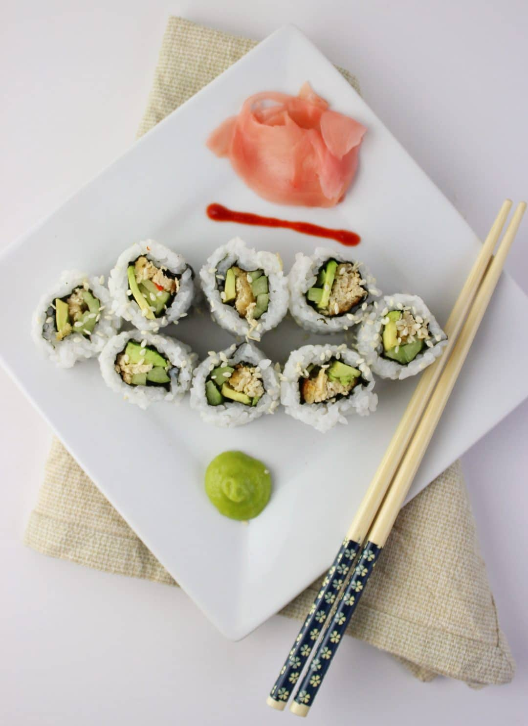 Vegan Sushi -Food Blogger Simply LaKita shares a vegan version of a California Roll. This recipe is so easy to make with the help of Gardein Crabless Cakes. simplylakita.com #vegan #sushi