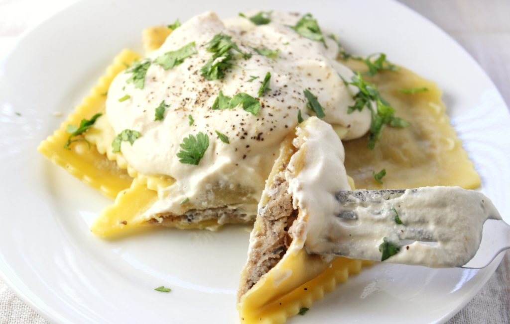 cashew cream sauce and ravioli