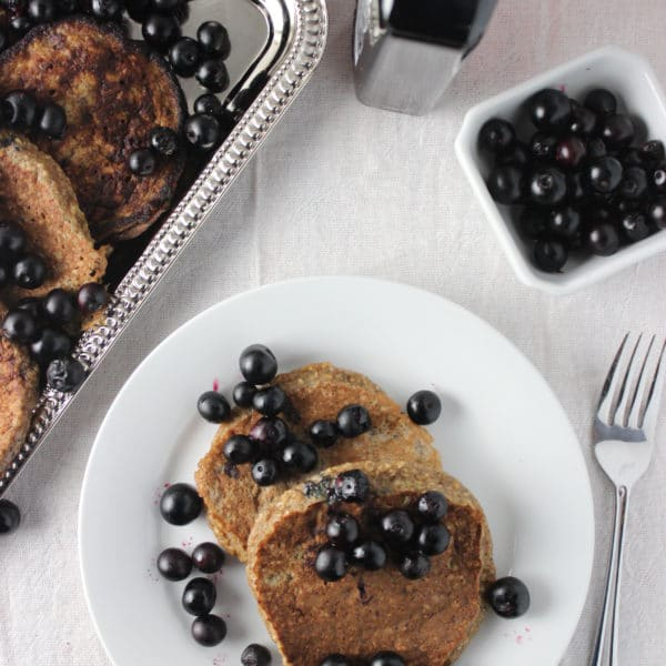 Banana Pancakes with Sauteed Blueberries