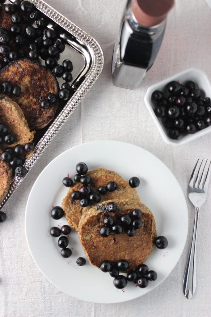 Banana Pancakes with Sauteed Blueberries are the perfect recipe for breakfast or brunch. These pancakes are a gluten-free option that is easy to make. simplylakita.com #pancakes #vegan #blueberry