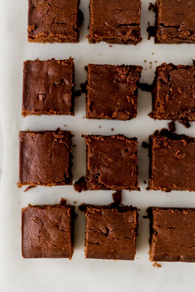 overhead view of squares of chocolate mint brownies