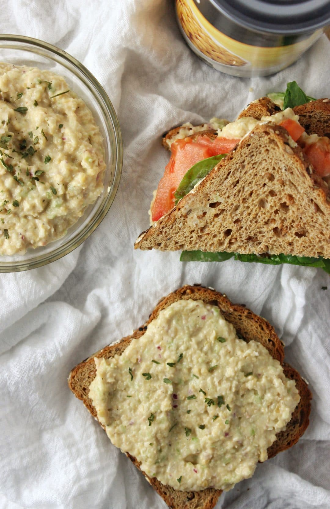 Chickpea Tuna Salad - The perfect vegan recipe that uses chickpeas, vegan mayo, celery, and spices for additional flavor. Great on sandwiches or salads! simplylakita.com #vegan #chickpea #salad