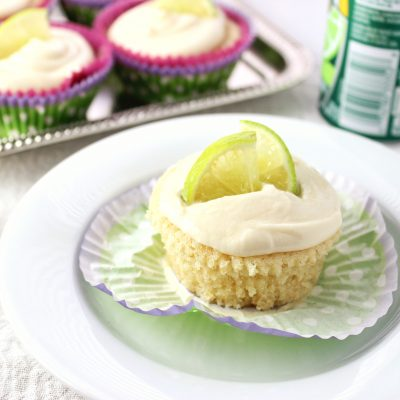 close-up side view margarita cupcakes on plate