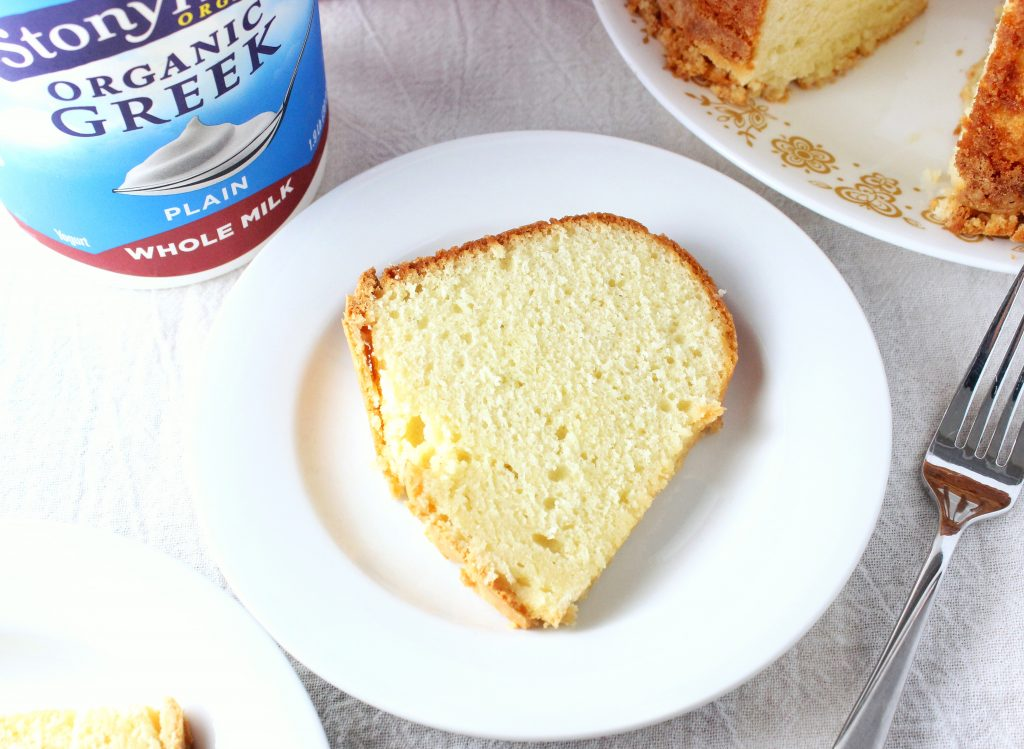 easy pound cake recipe made with Greek yogurt