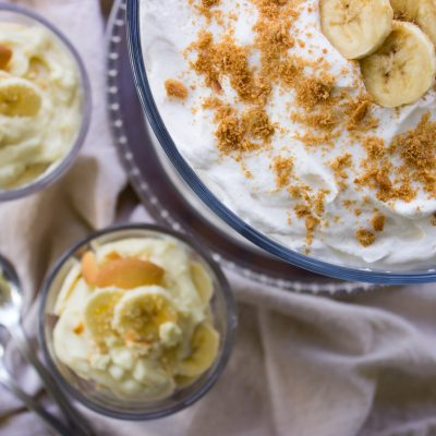 Overhead view of Homemade Banana Pudding Recipe