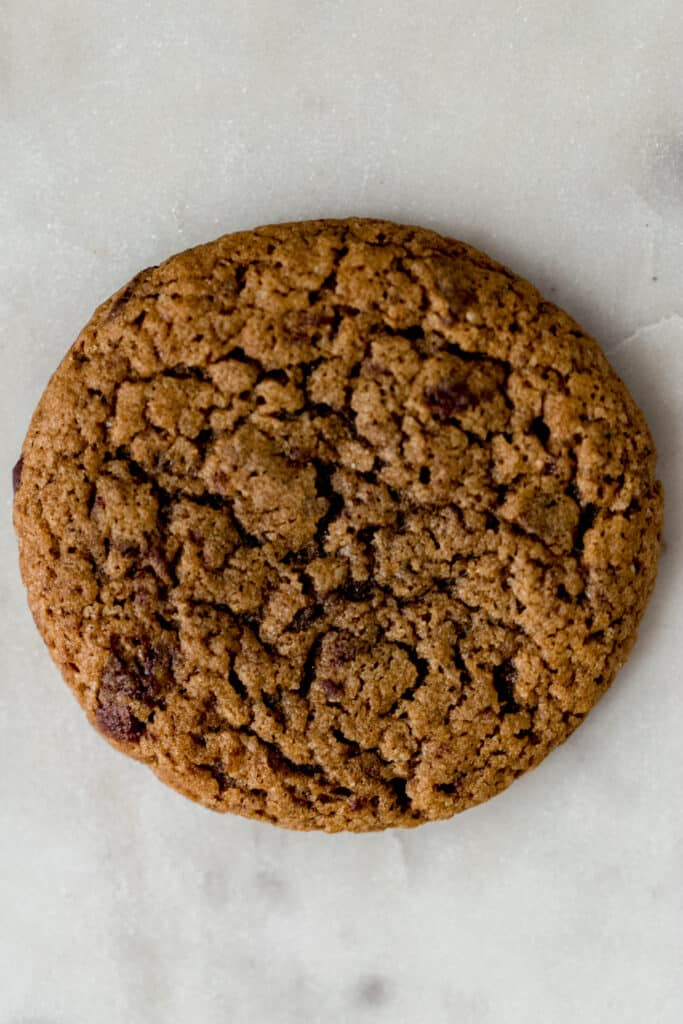 overhead view single coffee cookie