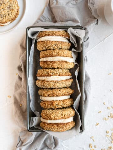 overhead view oatmeal cream pies in loaf pan.