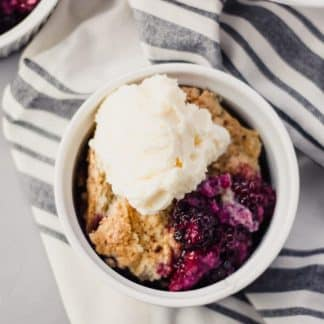 Overhead view Blackberry Cobbler in bowl