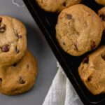 overhead view coconut oil chocolate chip cookies