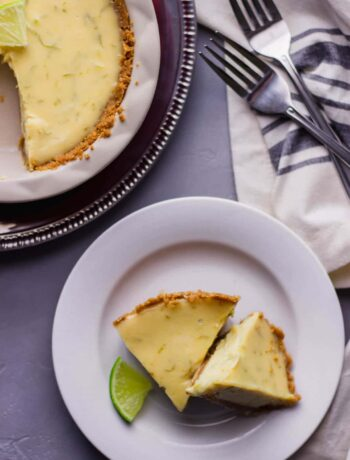 Key Lime Pie for 2 is the perfect recipe to share. With bold lime flavor, a sweet creamy richness, and buttery crust it is sure to be the perfect treat. simplylakita.com #keylimepie #pie #dessert