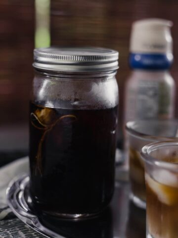 side view of Homemade Cold Brew Coffee in jar