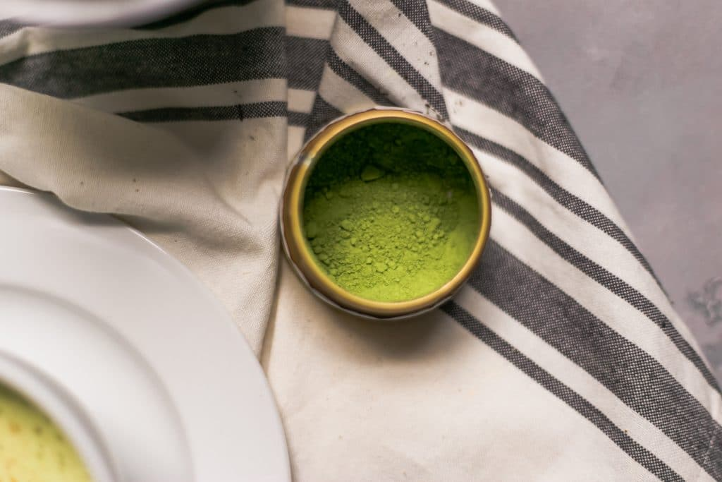 overhead view matcha with napkin