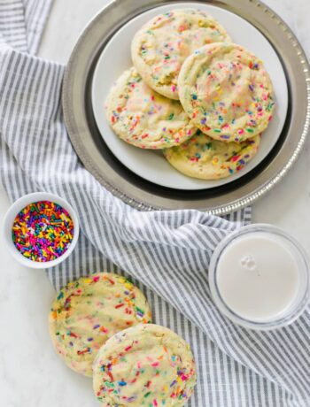 I quit and the best way to celebrate is with some Funfetti Sugar Cookies that are soft, chewy, and loaded with sprinkles. simplylakita.com #funfetti #cookies
