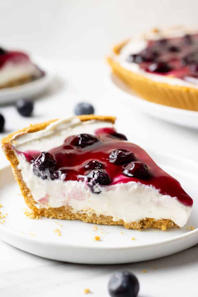 close up side view of slice of blueberry cheesecake on a white plate