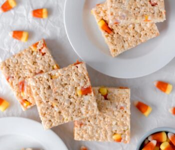 Overhead View Candy Corn Rice Krispie Treats