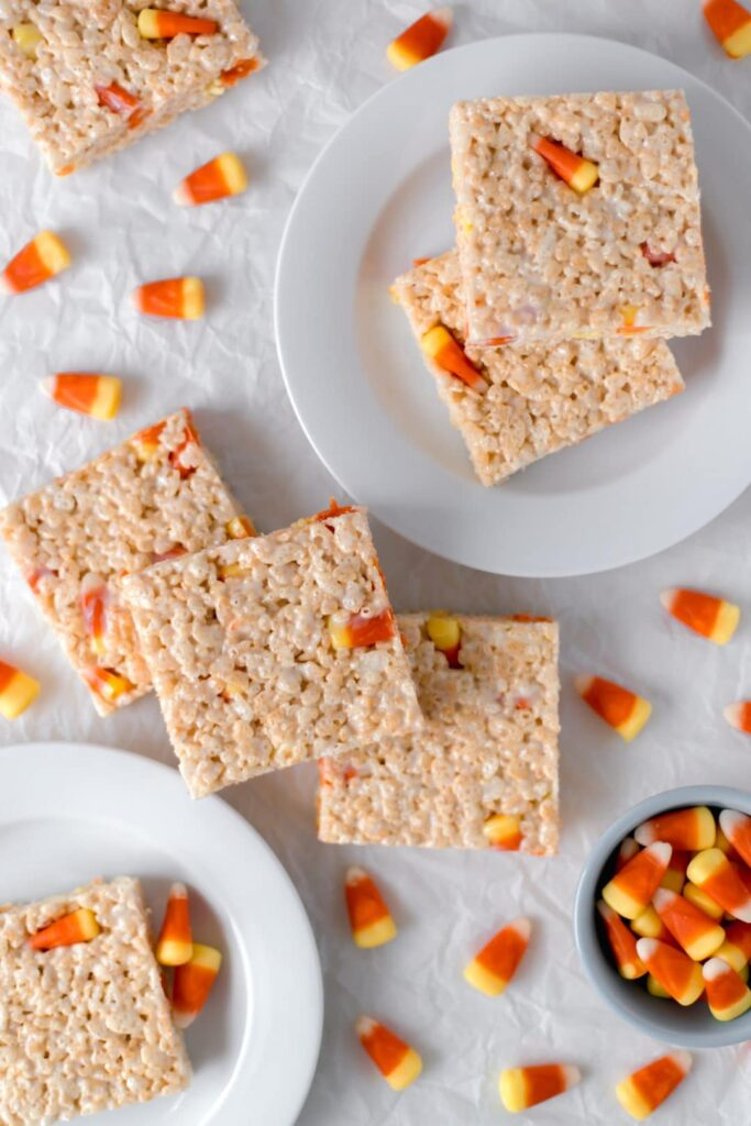 overhead view candy corn rice krispie treats on plate with candy corn