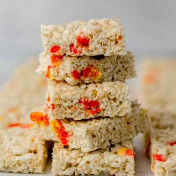 stack of finished rice krispie treats with candy corn