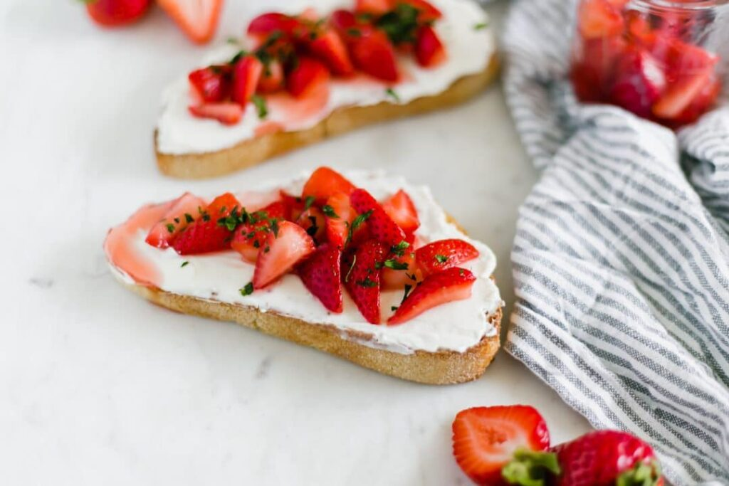 Close-up side view Strawberry Cream Cheese Toast