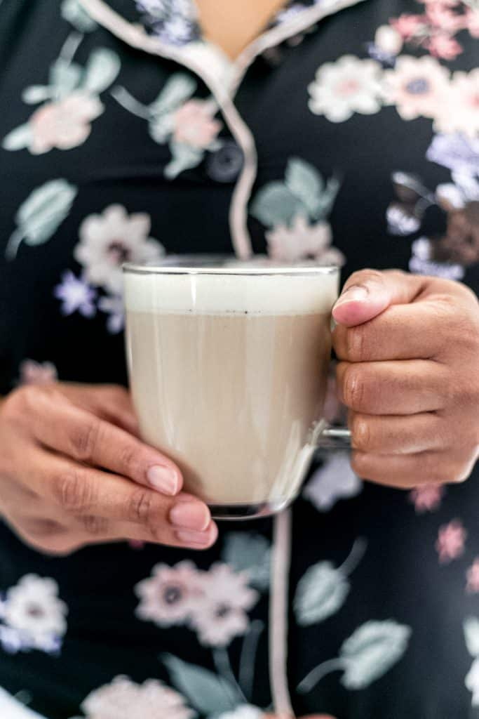 This Chai Latte is hot, made from scratch, the perfect amount of spice, and topped with a sweet whipped cream topping. It is delicious and a must try! simplylakita.com #chai #latte